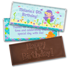 Personalized Birthday Mermaid Friends Embossed Happy Birthday Bar
