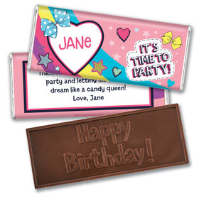 Personalized Birthday Party Bows Embossed Chocolate Bars