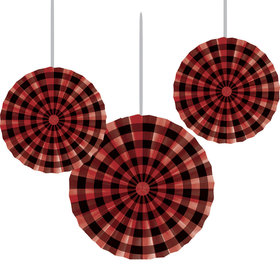 Lumberjack Plaid Paper Fans(3 Count)