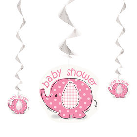Umbrellaphants Pink Hanging Swirl Decorations (3 Count)