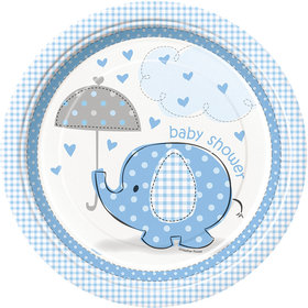 "Umbrellaphants Blue 9"" Lunch Plates (8 Count)"
