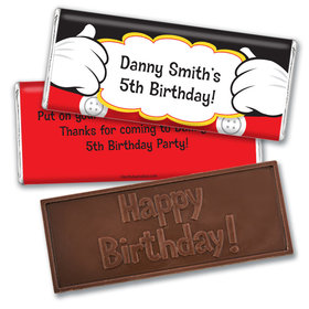 Personalized Birthday Mickey Party Embossed Chocolate Bars
