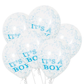 It's A Boy Clear Latex Birthday Balloons With Blue Confetti (6 Count)