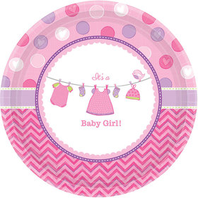 "Shower With Love Baby Girl 10"" Plate (8 Count)"