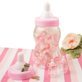Giant Pink Baby Bottle Bank With 16 Small Bottle Favors