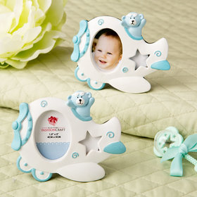 Airplane Frame with Teddy Bear Decoration - Blue