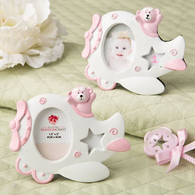Airplane Frame with Teddy Bear Decoration - Pink