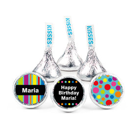 "Birthday Stripes & Dots Personalized 3/4"" Sticker (108 Stickers)"