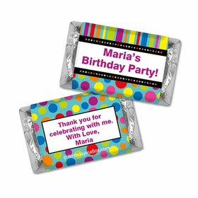 Birthday Stripes & Dots Personalized Hershey's Miniatures