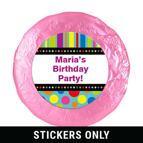 "Birthday Stripes & Dots Personalized 1.25"" Stickers (48 Stickers)"