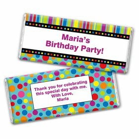 Birthday Stripes & Dots Personalized Hershey's Chocolate Bar Wrapper