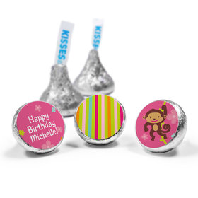 Birthday Girl Monkey Personalized Hershey's Kisses Candy (50 Pack)