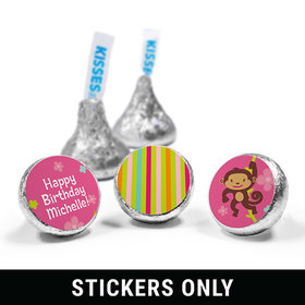 "Birthday Girl Monkey Personalized 3/4"" Sticker (108 Stickers)"