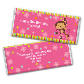 Birthday Girl Monkey Personalized Hershey's Chocolate Bar Wrapper
