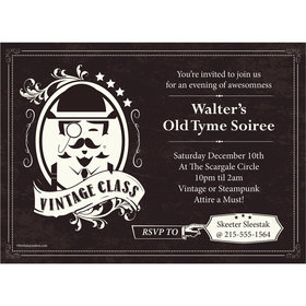 Vintage Dude Milestone Personalized Invitation