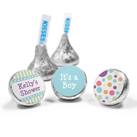 Baby Shower Blue Stripe Personalized Hershey's Kisses Candy (50 Pack)