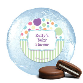 Baby Shower Blue Stripe Personalized Milk Chocolate Covered Oreos