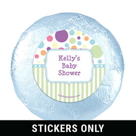 "Baby Shower Blue Stripe Personalized 1.25"" Stickers (48 Stickers)"