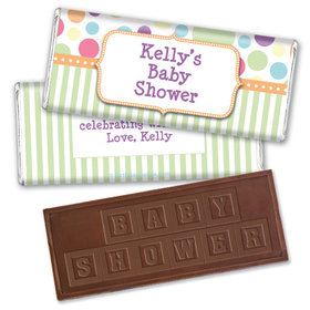 Personalized Baby Shower Colorful Dots Embossed Chocolate Bar