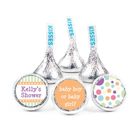 Baby Shower Orange Stripe Personalized Hershey's Kisses Candy (50 Pack)