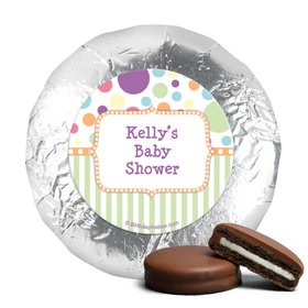 Baby Shower Orange Stripe Personalized Belgian Chocolate Covered Oreos (24 Pack)