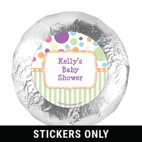 "Baby Shower Orange Stripe Personalized 1.25"" Stickers (48 Stickers)"