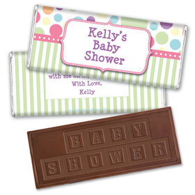 Personalized Baby Shower Pink Stripe Embossed Chocolate Bar