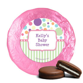 Baby Shower Pink Stripe Personalized Belgian Chocolate Covered Oreos (24 Pack)