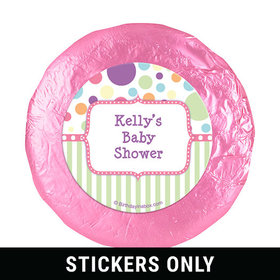 "Baby Shower Pink Stripe Personalized 1.25"" Stickers (48 Stickers)"