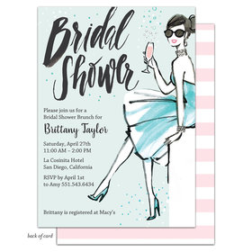 Bonnie Marcus Collection Personalized Bridal Shower Bubbly Blue Dress Invitation