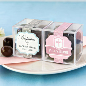 Personalized Baptism JUST CANDY® favor cube with Premium Milk & Dark Chocolate Sea Salt Caramels