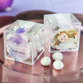 Personalized Baptism JUST CANDY® favor cube with Premium Confetti Cookie Bites