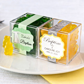 Personalized Baptism JUST CANDY® favor cube with Gummy Bears