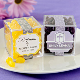 Personalized Baptism JUST CANDY® favor cube with Jelly Belly Jelly Beans