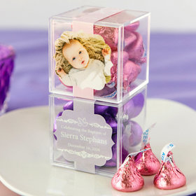 Personalized Baptism JUST CANDY® favor cube with Hershey's Kisses