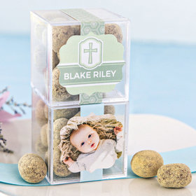 Personalized Baptism JUST CANDY® favor cube with Premium Marshmallow S'mores - Milk Chocolate