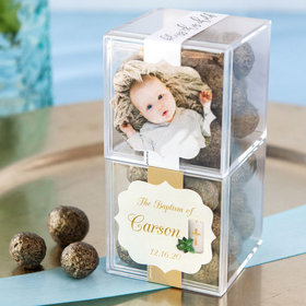 Personalized Baptism JUST CANDY® favor cube with Premium Sparkling Prosecco Cordials - Dark Chocolate