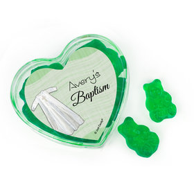 Personalized Baptism Favors Assembled Acrylic Heart Container with Gummy Bears