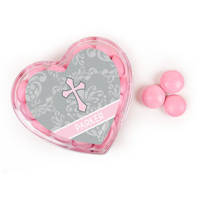 Personalized Baptism Favors Assembled Acrylic Heart Container with Just Candy Milk Chocolate Minis
