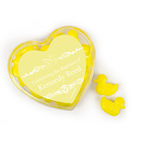 Personalized Baptism Favors Assembled Acrylic Heart Container with Quackers Ducks
