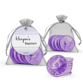 Personalized Baptism Favor Assembled Gift tag, Organza Bag Filled with Milk Chocolate Coins