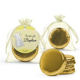 Personalized Baptism Favor Assembled Organza Bag Hang tag Filled with Chocolate Covered Oreo Cookie