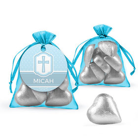 Personalized Baptism Favor Assembled Organza Bag Filled with Milk Chocolate Hearts