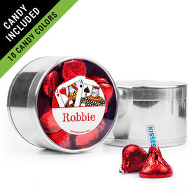 Personalized Birthday Favor Assembled Medium Round Plastic Tin Filled with Hershey's Kisses