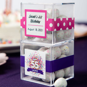 Personalized Birthday JUST CANDY® favor cube with Premium Confetti Cookie Bites