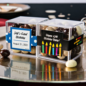 Personalized Birthday JUST CANDY® favor cube with Premium New York Espresso Beans