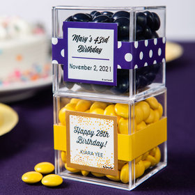 Personalized Birthday JUST CANDY® favor cube with Just Candy Milk Chocolate Minis