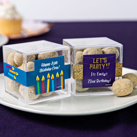 Personalized Birthday JUST CANDY® favor cube with Premium Marshmallow S'mores - Milk Chocolate