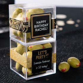 Personalized Birthday JUST CANDY® favor cube with Premium Martini Olive Almonds - White Chocolate