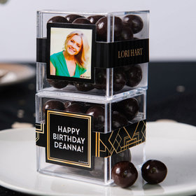 Personalized Birthday JUST CANDY® favor cube with Premium Rum Cordials - Dark Chocolate